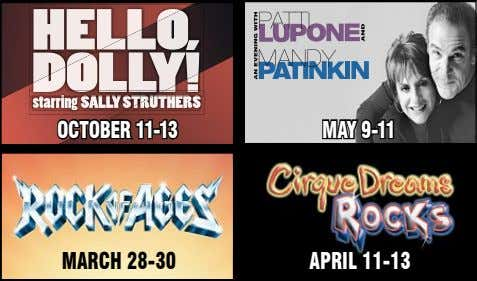 HELLOLLO, DDOLLY! starring SALLY STRSTRUTHERS OctObeR 11-1 3 MAY 9-11 MARcH 28-30 ApRIL 11-13