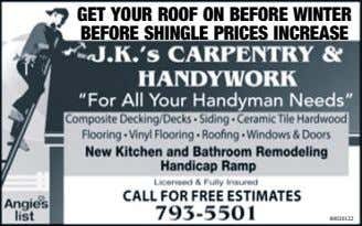 GET YOUR ROOF ON BEFORE WINTER BEFORE SHINGLE PRICES INCREASE 80020122