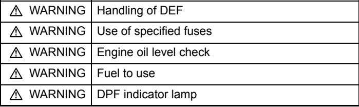 control WARNING 5-50 Handling of DEF WARNING 1-8 WARNING Use of specified fuses 13-10 WARNING