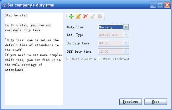 "set up duty time according to company""s worki ng system. 3.2-7  Click Next to enter"