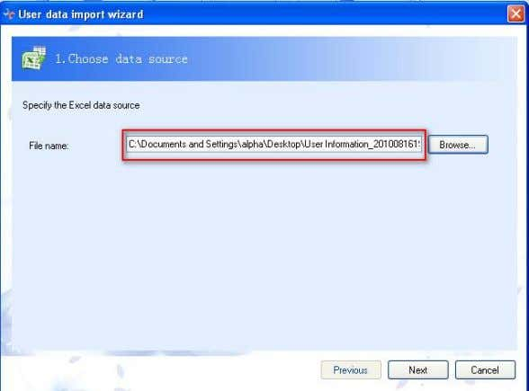 4.1-12 First: select the designed Microsoft Excel file. 4.1-13 Second: Click Next , and select the