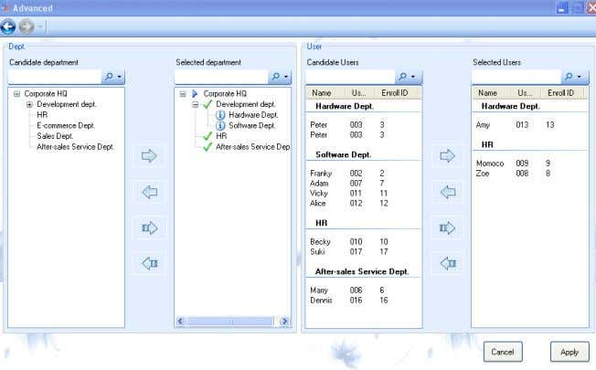 "select the "" Advance "" to pop-up the Advanced window. 4.1-27 Advanced Instruction: Candidate department is"