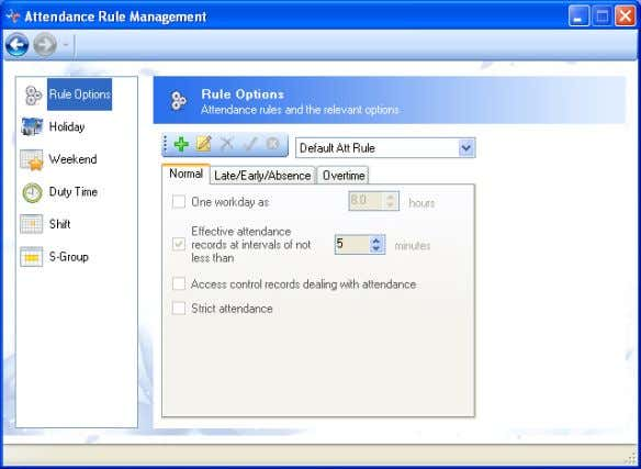 Rule and enter the Attendance Rule Management window. 4.2.3.1 Rule Options 4.2-14  Add New Attendance