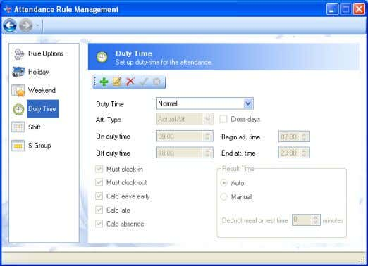 Rule Management; enter the setting window of Duty Time. 1) 4.2-23 Add , set the name