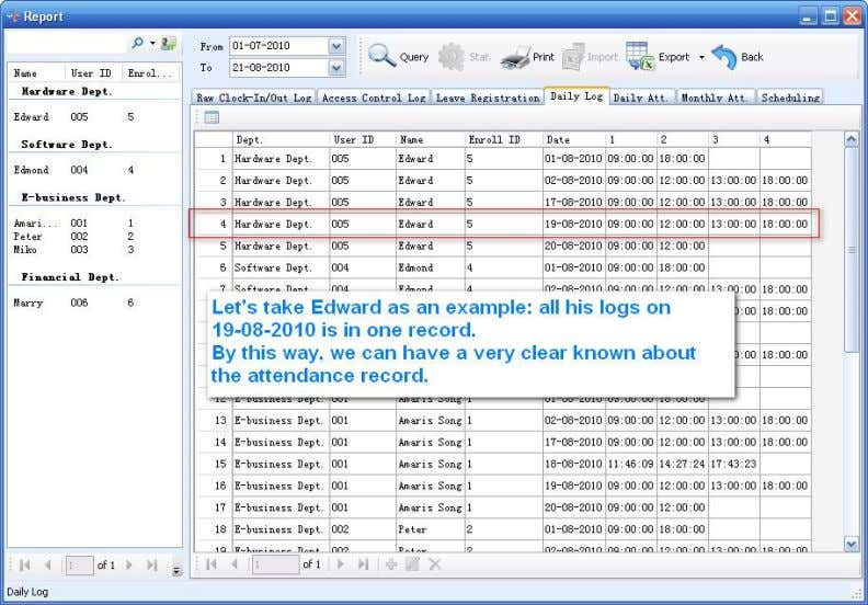 example: all of his logs on 109 -08-2010 are in one record. 4.2-40 4.2.4.5 Daily Attendance