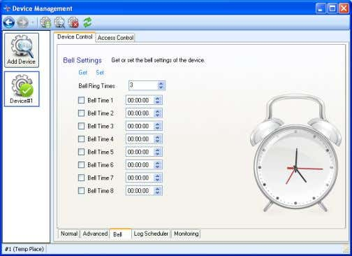 RIMS 4.3.1.7 Device Property- Bell 4.3-11 Click Get to obtain the Bell Ring Times and Time