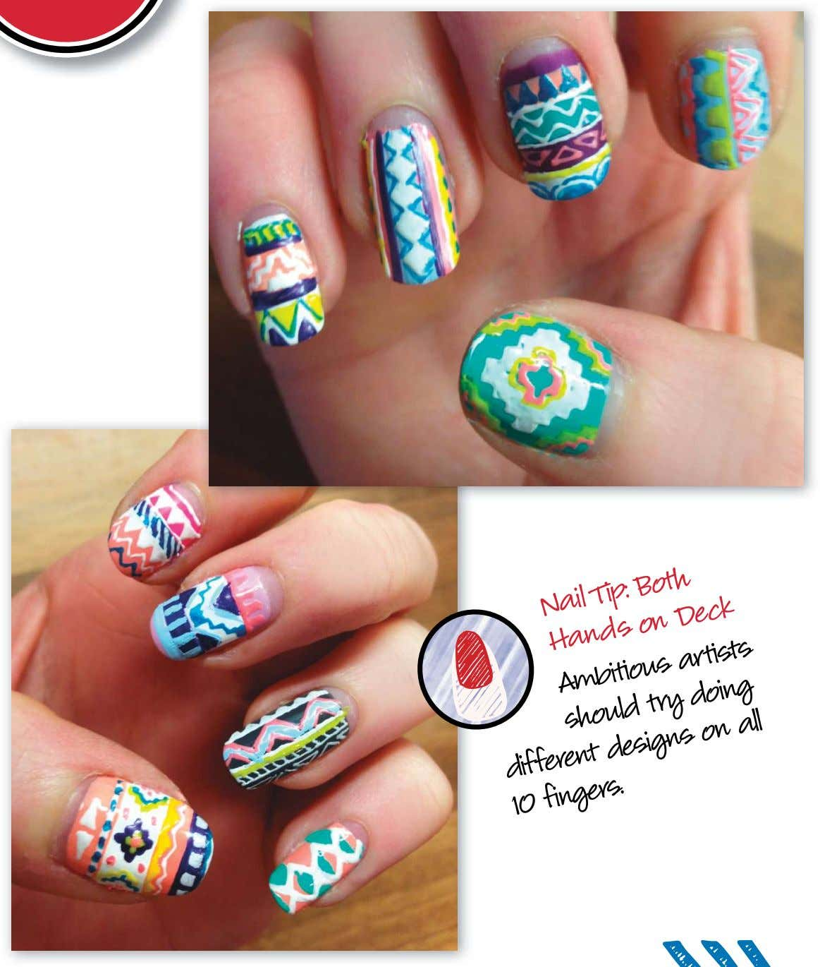 Nail Tip: Both Hands on Deck Ambitious try artists should doing different designs on all