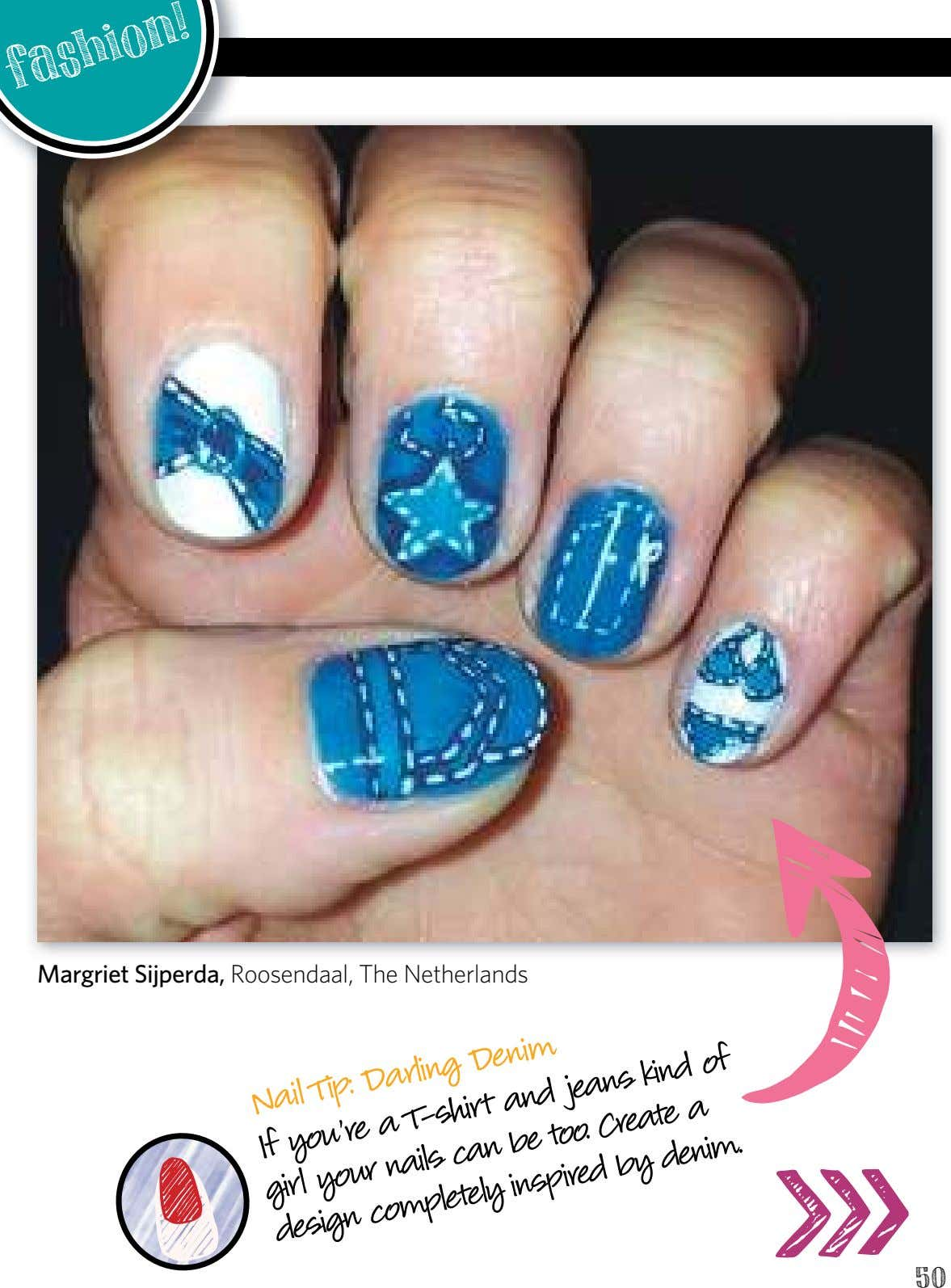 fashion ! Margriet Sijperda, Roosendaal, The Netherlands Nail Tip: Darling Denim and too. jeans T-shirt