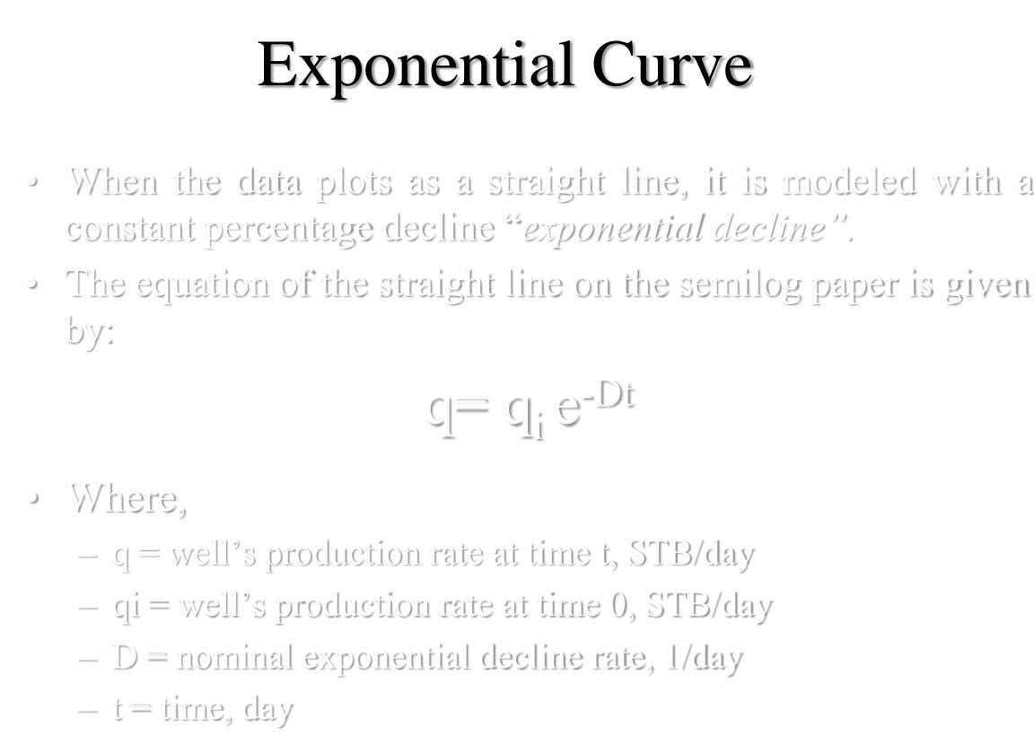 Exponential Curve • When the data plots as a straight line, it is modeled with a