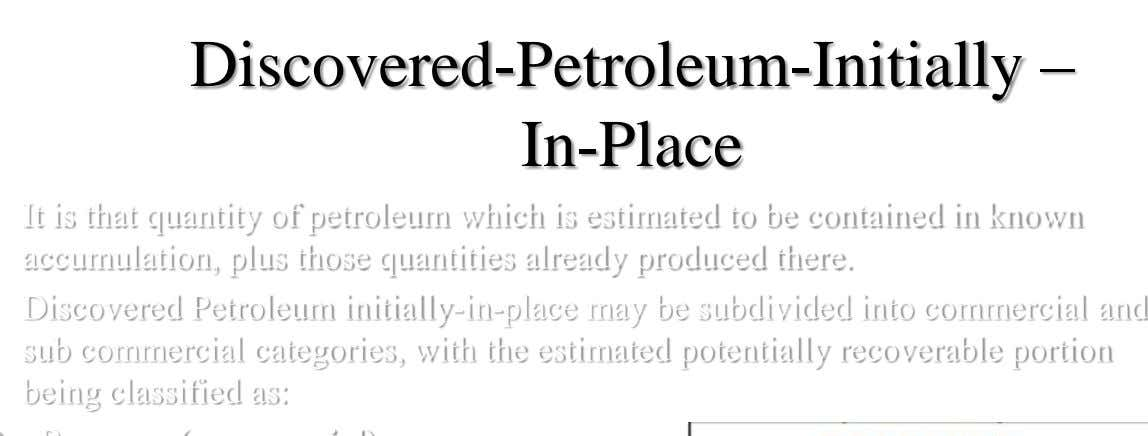 Discovered-Petroleum-Initially – In-Place It is that quantity of petroleum which is estimated to be contained in