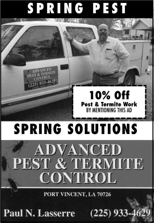SPRING PEST 10% Off Pest & Termite Work BY MENTIONING THIS AD SPRING SOLUTIONS