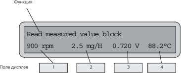 Функция Read measured value block 900 rpm 2.5 mg/H 0.720 V 88.2°C Поле дисплея 1