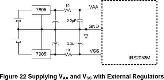 Figure 22 Supplying V AA and V SS with External Regulators