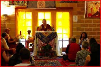 Above: His Eminence preparing for the Vajrayogini Blessing White Mahakala Empowerment His Eminence bestowed the final