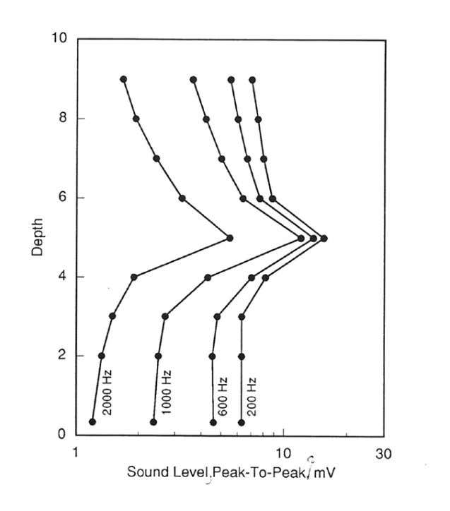 pressure drop that generates detectable noise. Fig. 21 Noise Fig. 21 Noise log Example 7 Detection