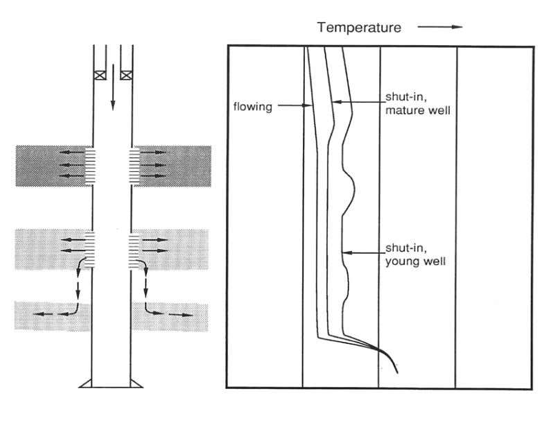 43 Fig. 24 Temperature logs for injection well with a downward channel