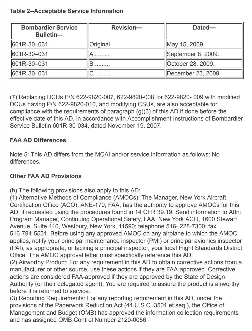 Table 2--Acceptable Service Information Bombardier Service Bulletin— Revision— Dated— 601R-30–031 Original