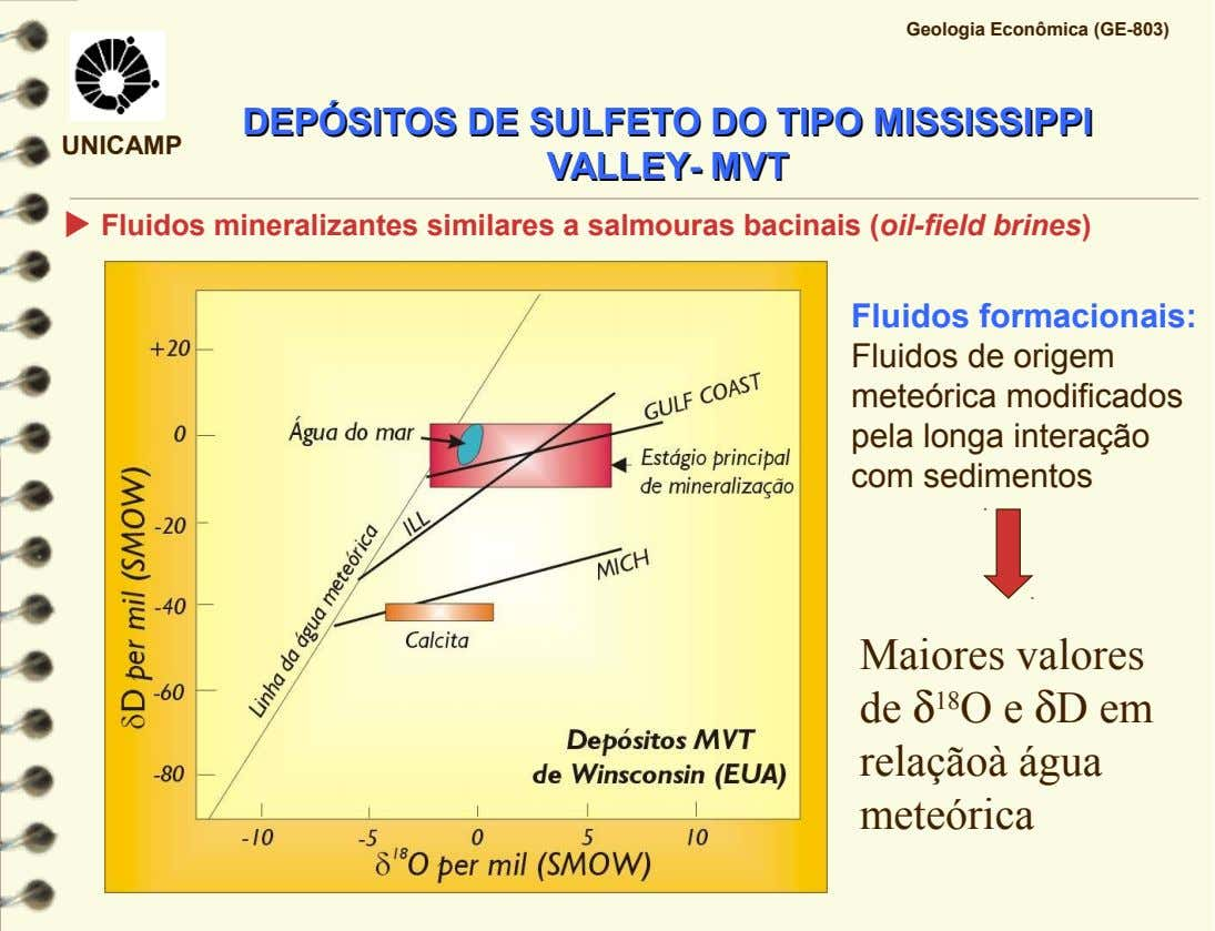 Geologia Econômica (GE-803) DEPÓSITOS DEPÓSITOS DEDE SULFETO SULFETO DODO TIPO TIPO MISSISSIPPI MISSISSIPPI UNICAMP VALLEY- VALLEY-