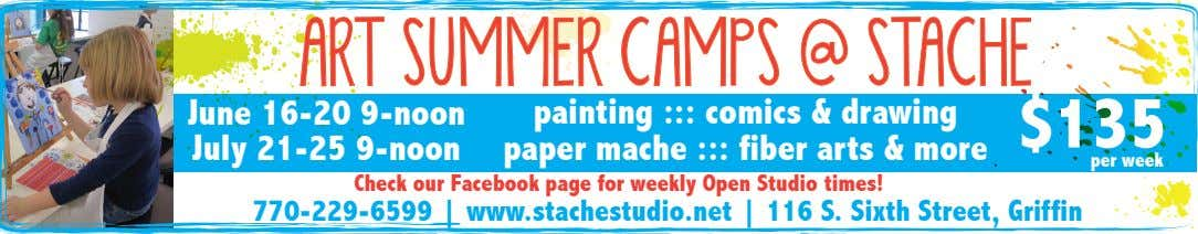 ART SUMMER CAMPS @ STACHE June 16-20 9-noon July 21-25 9-noon painting ::: comics &