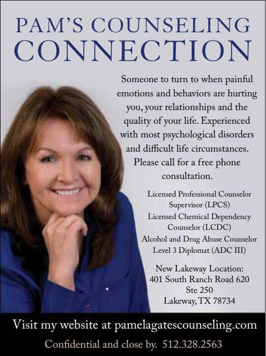 PAM'S COUNSELING CONNECTION Someone to turn to when painful emotions and behaviors are hurting you,