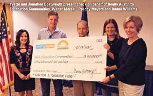Yvette and Jonathan Boatwright present check on behalf of Realty Austin to Foundation Communities, Walter