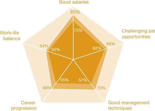 Good salaries 85% 73% Challenging job Work-life opportunities balance 68% 54% 62% 50% 55% 57%