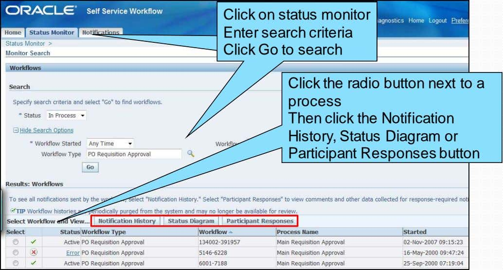 Click on status monitor Click on status monitor Enter search criteria Enter search criteria Click