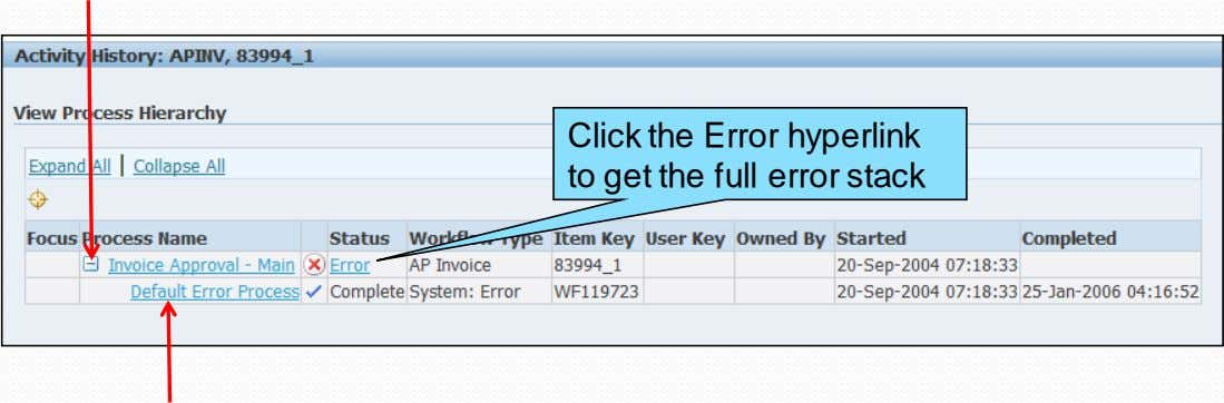 Click the Error hyperlink to get the full error stack