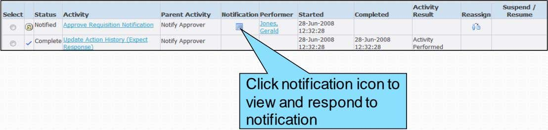 Click notification icon to view and respond to notification
