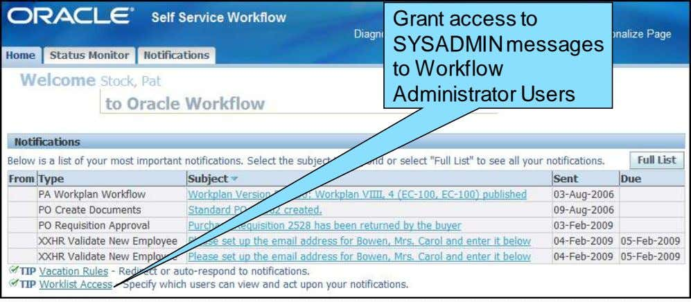 Grant access to SYSADMIN messages to Workflow Administrator Users