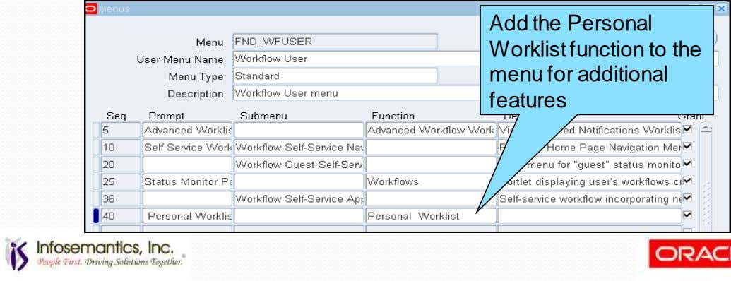 Add the Personal Worklist function to the menu for additional features