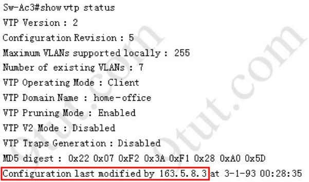 configuration information, use the show vtp status command So we knew Sw-Ac3 received VLAN information from