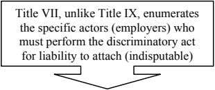 Title VII, unlike Title IX, enumerates the specific actors (employers) who must perform the discriminatory