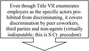 Even though Title VII enumerates employers as the specific actors pro- hibited from discriminating, it