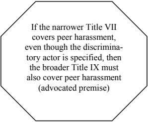 If the narrower Title VII covers peer harassment, even though the discrimina- tory actor is