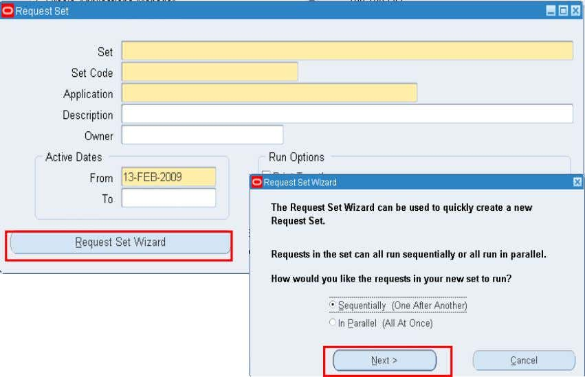 Defining Request Set Using Wizard Copyright © 2010, Oracle and/or its affiliates. All rights reserved.