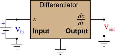 Differentiator dx x dt V V out Input Output in