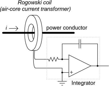 Rogowski coil (air-core current transformer) i power conductor + Integrator
