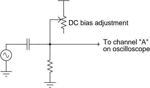 "DC bias adjustment To channel ""A"" on oscilloscope"