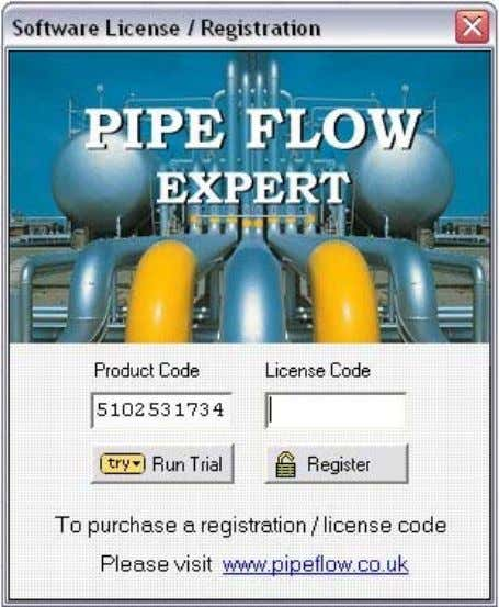 must be entered to fully enable and license the software. Purchasing a License Figure 1 Pipe