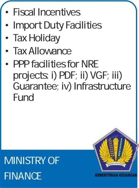 • Fiscal Incentives • Import Duty Facilities • Tax Holiday • Tax Allowance • PPP