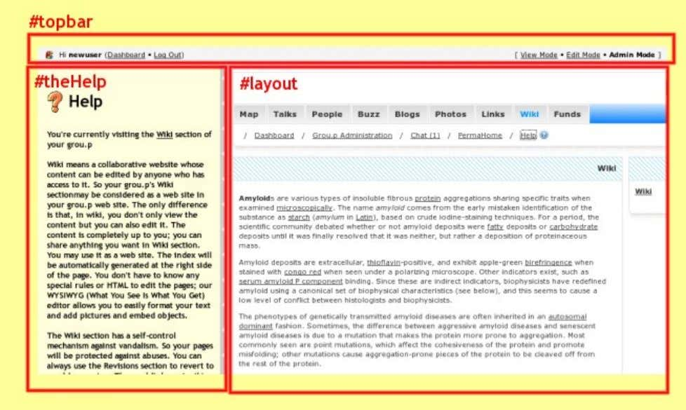 represents: #layout , #topbar , #chatScreen , #ad_area The picture below represents: #layout, #theHelp , #topbar