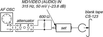 MD/VIDEO (AUDIO) IN 315 Hz, 50 mV (–23.8 dB) AF OSC blank tape 600 Ω