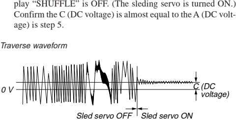 "play ""SHUFFLE"" is OFF. (The sleding servo is turned ON.) Confirm the C (DC voltage)"