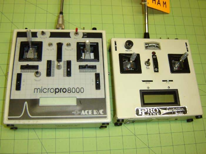 At left is the original Ace MicroPro 8000 transmitter that started it all. Everything in