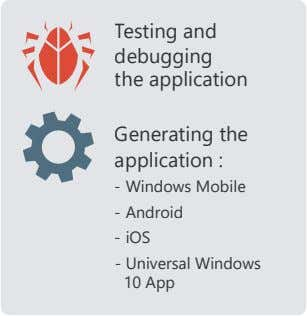 Testing and debugging the application Generating the application : - Windows Mobile - Android -