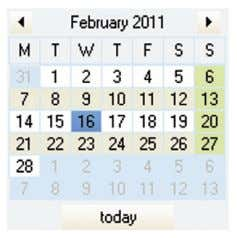 an animation Multimedia Image Enter a date in a calendar Calendar Display the content of a