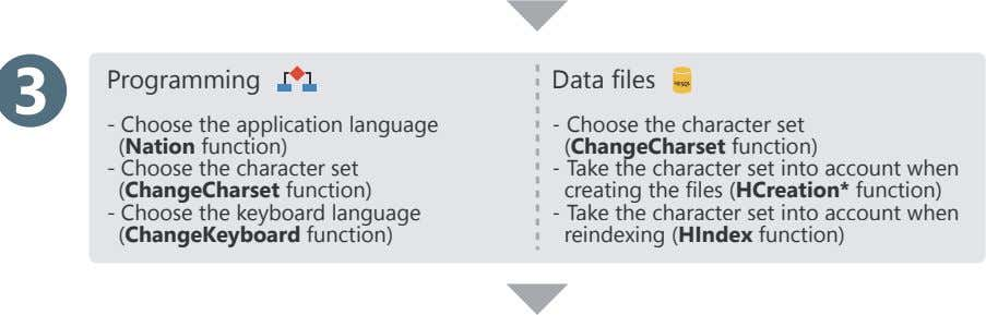 3 Programming Data files - Choose the application language (Nation function) - Choose the character