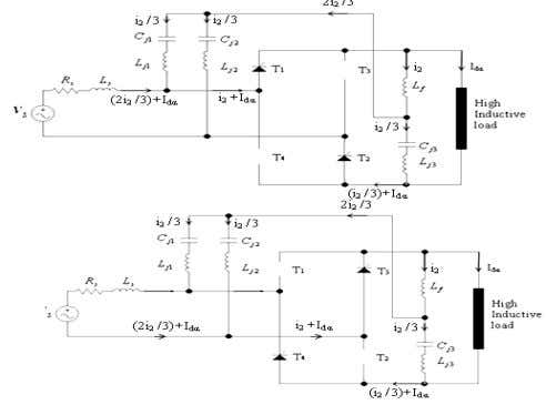 bridge converter with passive current injection circuit. Fig.6 Current direction of thyristor bridge converter with