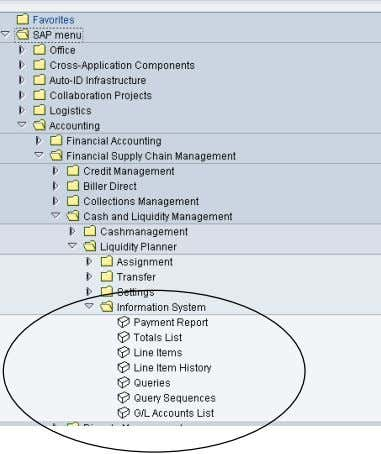 actual cash flows, standard reports are available in the SAP Actual calc. module SAP actual calculation